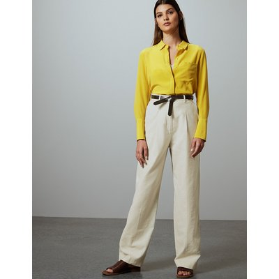 Autograph Linen Blend Trousers with Leather Belt