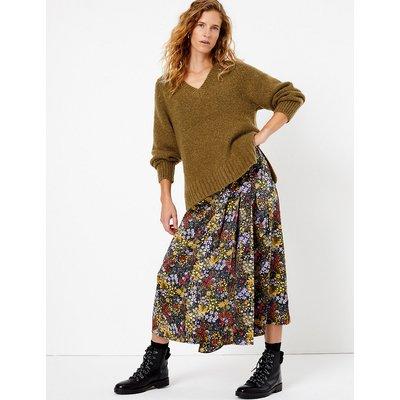 Per Una Satin Floral Print Wrap Midi Skirt