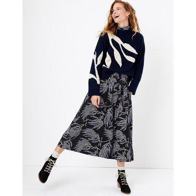 Per Una Jersey Printed A-Line Midi Skirt