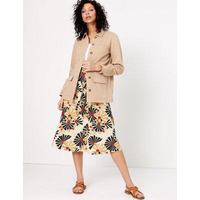 Per Una Printed Button Front Midi Fit & Flare Skirt