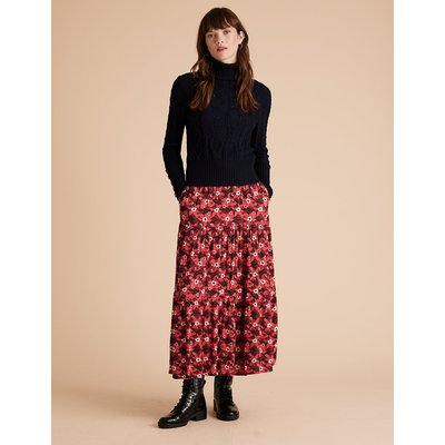 Per Una Crepe Floral Tiered Midi Skirt