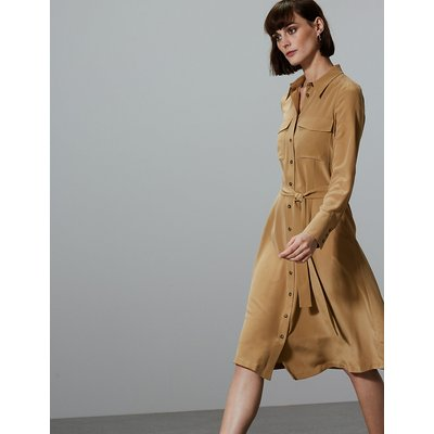 Autograph Pure Silk Patch Pocket Shirt Midi Dress