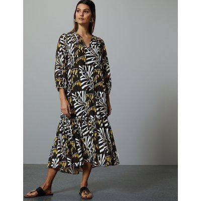 Autograph Leaf Print 3/4 Sleeve Relaxed Midi Dress