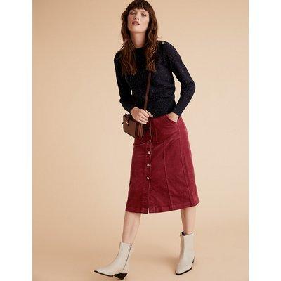 Per Una Corduroy Button Front Midi A-Line Skirt