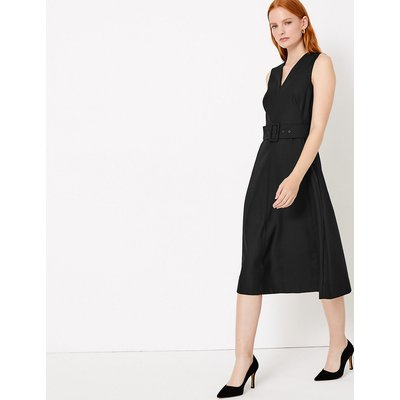 Autograph Wool Blend Belted Fit & Flare Midi Dress