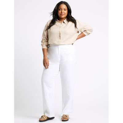 CURVE Linen Wide Leg Trousers white