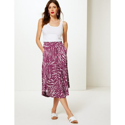 M&S Collection Animal Print Jersey A-Line Midi Skirt