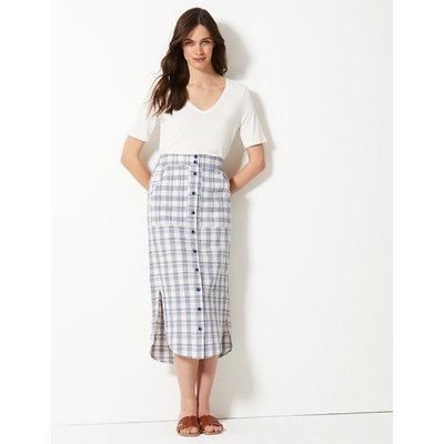 M&S Collection Cotton Rich Checked Pencil Midi Skirt