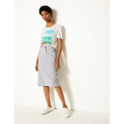 M&S Collection Pure Cotton Striped A-Line Midi Skirt