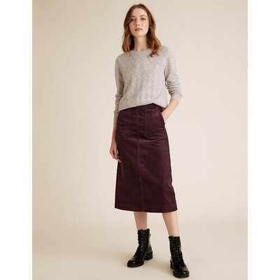 M&S Collection Cord Midi A-Line Skirt