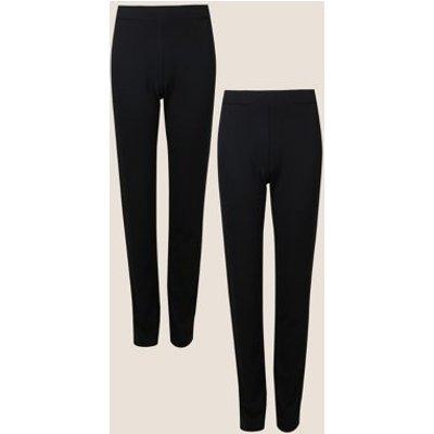 M&S Womens 2 Pack Jersey Slim Leg Trousers - 8REG - Black, Black