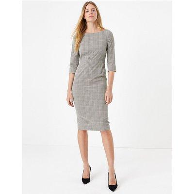 M&S Collection Cotton Blend Checked Bodycon Midi Dress
