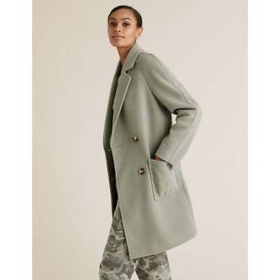 M&S Womens Double Breasted Coat - 12 - Pale Apple, Pale Apple,Oatmeal Mix