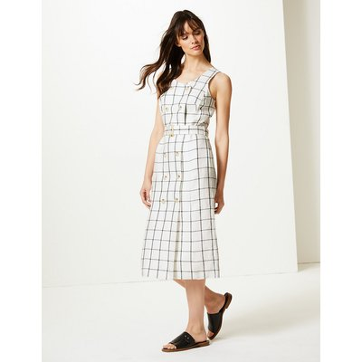 M&S Collection Pure Linen Checked Waisted Midi Dress