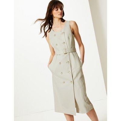 M&S Collection Linen Rich Double Button Front Midi Dress