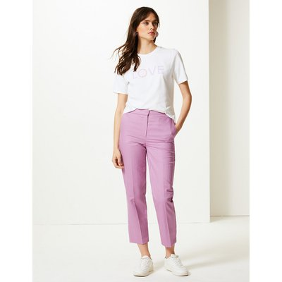 M&S Collection Linen Rich Straight Ankle Grazer Trousers