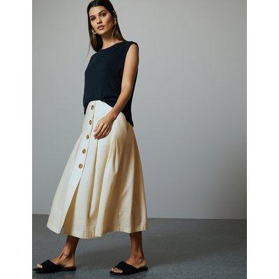 Autograph Linen Blend Fit & Flare Midi Skirt