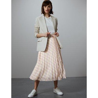 Autograph Checked Pleated Midi Skirt