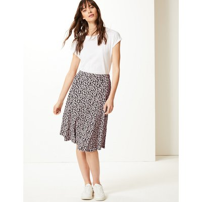 M&S Collection Floral Print Jersey Midi Skirt