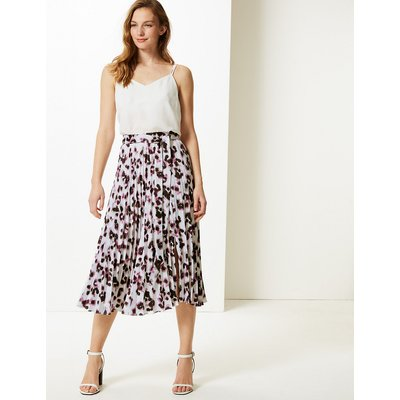 M&S Collection Animal Print Pleated Midi Skirt