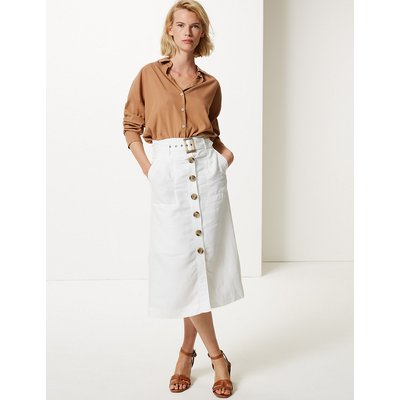 M&S Collection Linen Blend Button Detail Fit & Flare Skirt