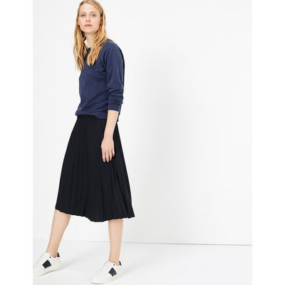 M&S Collection Jersey Pleated A-Line Midi Skirt