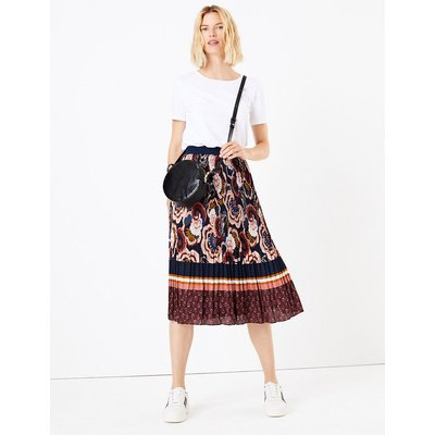 M&S Collection Floral Stripe Pleated Midi Skirt