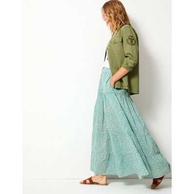 Per Una Pure Cotton Floral Maxi Fit & Flare Skirt