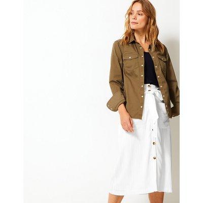 Per Una Button Detailed A-Line Midi Skirt