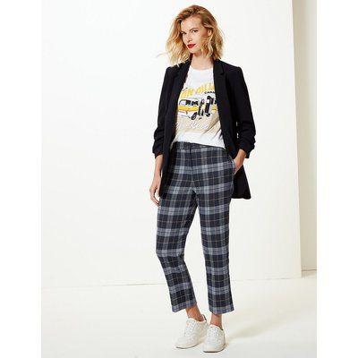 M&S Collection Evie Straight Leg Checked 7/8th Trousers