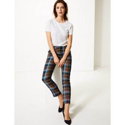 M&S Collection Mia Checked Slim Ankle Grazer Trousers