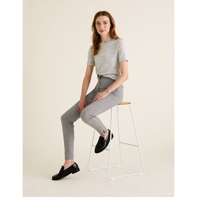 M&S Collection Cotton Checked Skinny Ankle Grazer Trousers