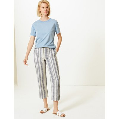 M&S Collection Evie Straight Leg Striped 7/8th Trousers