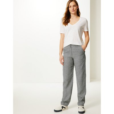 M&S Collection Freya Relaxed Checked Straight Leg Trousers