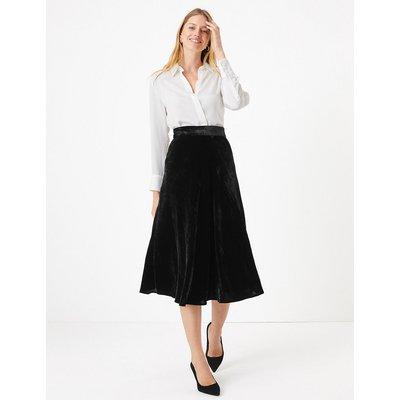 M&S Collection Velvet Slip Midi Skirt