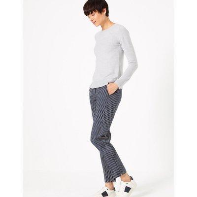 M&S Collection Mia Jacquard Slim Ankle Grazer Trousers