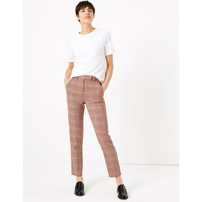 M&S Collection Mia Slim Checked Ankle Grazer Trousers