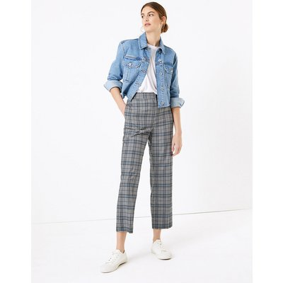 M&S Collection Evie Straight Leg Checked 7/8 Trousers