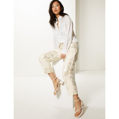 M&S Collection Jacquard Straight Leg Ankle Grazer Trousers