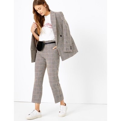 M&S Collection Evie Checked Straight Leg 7/8th Trousers