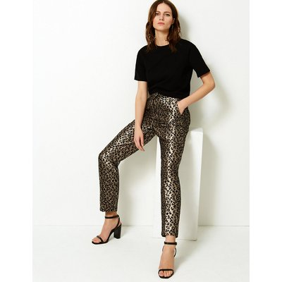M&S Collection Animal Print Straight Ankle Grazer Trousers