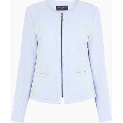 M&S Collection Jersey Jacquard Zip Up Short Jacket