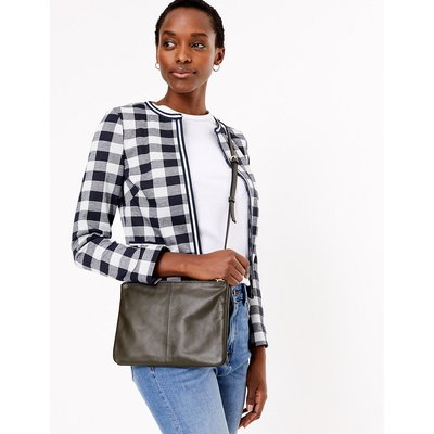 M&S Collection Jersey Gingham Edge To Edge Blazer
