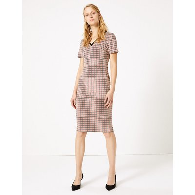 M&S Collection Jersey Dogtooth Tailored Bodycon Dress