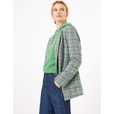 M&S Collection Checked Open Front Edge to Edge Blazer