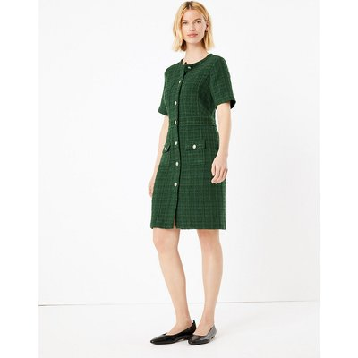 M&S Collection Tweed Checked Knee Length Dress