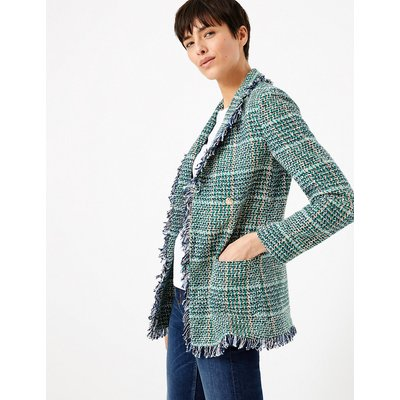 M&S Collection Tweed Checked Longline Blazer