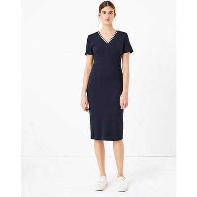 M&S Collection Jersey V-Neck Knee Length Dress