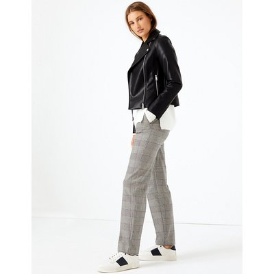 M&S Collection Freya Checked Relaxed Straight Trousers