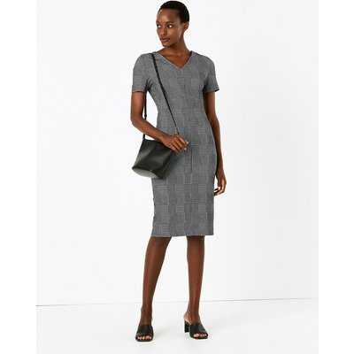 M&S Collection Jersey Checked V-Neck Midi Tailored Dress